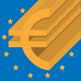 Euro abstract pictogram op Europese Unie vlag op achtergrond Royalty-vrije Illustratie