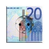 Euro AC Electric Socket. Twenty Euro Note on European AC electrical socket Stock Image