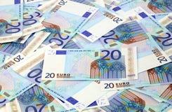 Euro achtergrond twintig Stock Afbeelding