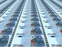 Euro achtergrond Twintig euro Stock Afbeeldingen