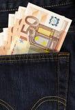 Euro in achterzak Stock Fotografie