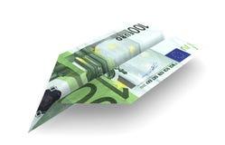 Euro Aeroplane. Isolated origami airplane of hundred euro on white background Royalty Free Stock Photos