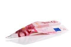 Euro aeroplano della banconota Immagini Stock