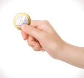 Euro affaires de pièce de monnaie à disposition - photographie stock