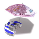 Euro Aid Package for Greece. A sunshade covered with a 500 Euro banknote protects an Euro currency symbol with a greek flag on front from the sun Stock Photos