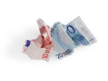 Euro amarrotado Fotos de Stock Royalty Free