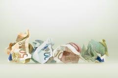 Euro amarrotados Fotografia de Stock Royalty Free