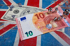 Euro and american dollar on British flag Stock Photography