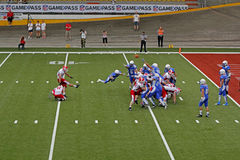Euro 2013 american football championship. Denmark kick,italy on defensive side,final match for 1st and 2nd place,european american football campionship,7th sept Stock Photos