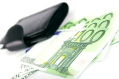 Euro And A Leather Purse Royalty Free Stock Photography