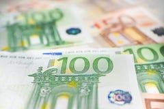100 euro anmärkning Arkivfoto