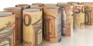 50-Euro anmärkningar Rolls stock illustrationer