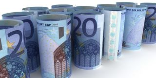 20 Euro-Anmerkungen Rolls lizenzfreie abbildung