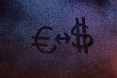 Euro ao sinal da troca de dólar Imagem de Stock Royalty Free