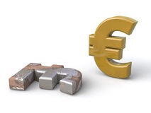 The euro appears on the lyre Stock Image
