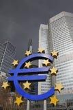 Euro area della banca e di simbolo Fotografie Stock Libere da Diritti