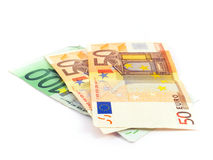 Euro argent comptant d'argent Image libre de droits