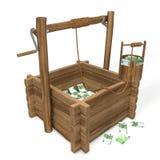 Euro argent dans le puits d'eau Photos libres de droits
