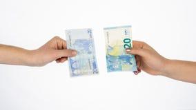 Euro argent liquide de devise de factures d'argent nouvel Images stock