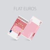 Euro argent plat réglé Photos stock