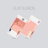 Euro argent plat réglé Photographie stock libre de droits