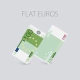 Euro argent plat réglé Photo libre de droits