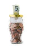 Euro argent sur un pot images stock