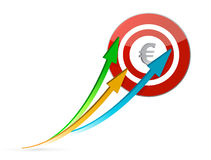Euro arrows pointing target Royalty Free Stock Images