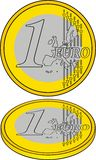 1 euro as crisis symbol. As new currency Royalty Free Stock Images