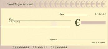 Euro assegno Immagini Stock Libere da Diritti