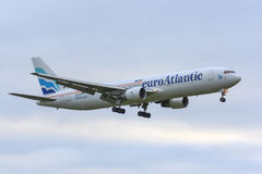 Euro atlantiska Boeing 767-300 Arkivfoton
