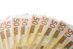 Euro auf einem gelben Hintergrund Stockbilder