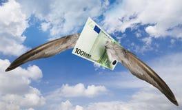 Euro ausente que vuela imágenes de archivo libres de regalías