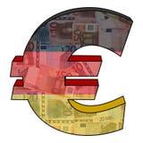 Euro avec l'indicateur allemand Image libre de droits