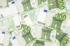 Euro Background 100. Green everywhere royalty free stock photography