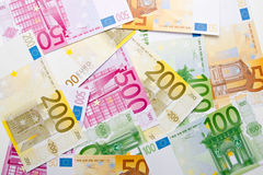 Euro background. Euro banknotes as money background Stock Image
