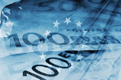 Euro background. Blue background with euro bills and european union flag symbolizing euro zone Royalty Free Stock Photo