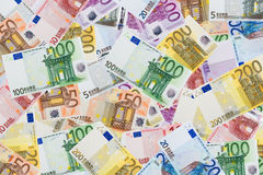 Euro background. High resolution euro banknotes background Stock Photography