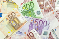 Euro background. Euro banknotes, the European currency Royalty Free Stock Photo