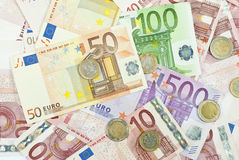 Euro background. Euro banknotes, the European currency Stock Photos