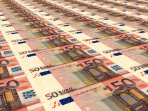Euro background. Fifty euros. Royalty Free Stock Photography