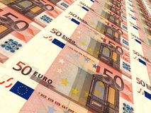 Euro background. Fifty euros. 3D illustration Royalty Free Stock Photography