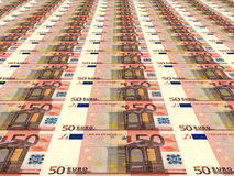 Euro background. Fifty euros. 3D illustration Royalty Free Stock Photo