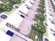 Euro background. One hundred euros. Stock Images