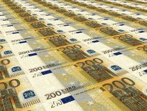 Euro background. Two hundred euros. Stock Photography