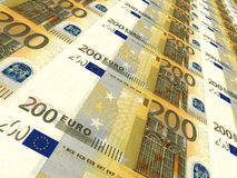 Euro background. Two hundred euros. Stock Image