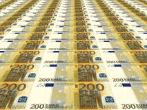 Euro background. Two hundred euros. 3D illustration Stock Images