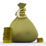 Euro Bag Shows Europe Currency And Wealth Royalty Free Stock Images