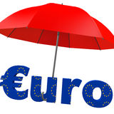 Euro bailout fund. Red umbrella with the word euro stock illustration