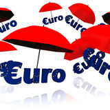Euro bailout fund. Red umbrella with the word euro vector illustration